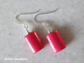 Fuchsia Pink Turquoise Pillow Flat Tube & Sterling Silver Earrings | Silver Sensations